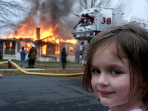 Girl Burns House Smug